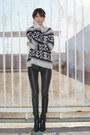 Black-zara-boots-white-free-people-sweater-black-kelly-wearstler-pants