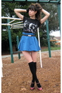 Black-urban-outfitters-t-shirt-blue-american-apparel-skirt-black-h-m-socks-
