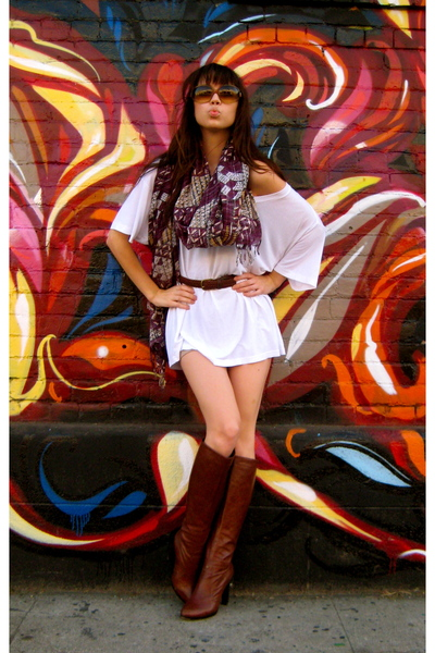 purple Urban Outfitters scarf - brown Fendi boots