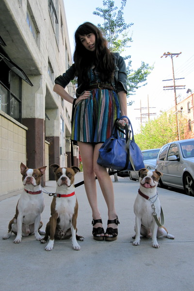 blue BB Dakota dress - blue vivienne westwood purse - brown Chloe shoes - blue