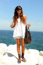 brown Zara shoes - blue Zara shorts - white Zara blouse