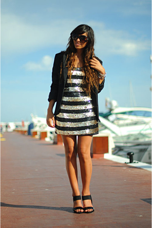 Zara blazer - Stradivarius dress - Stradivarius shoes - H&M sunglasses
