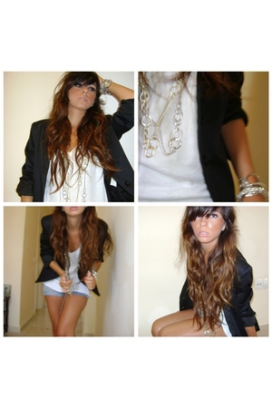 Zara blazer - Mango t-shirt - Stradivarius shorts - H&M necklace - H&M purse