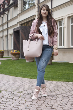 light pink Stradivarius jacket - white Stradivarius shirt