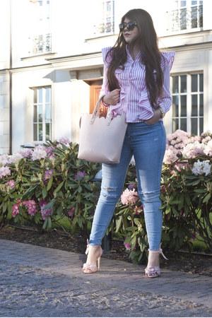 light pink Sheinside shirt - periwinkle Stradivarius jeans