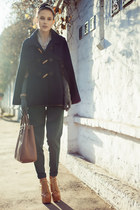 navy Only cape - bronze lita Jeffrey Campbell boots - light brown Prada bag