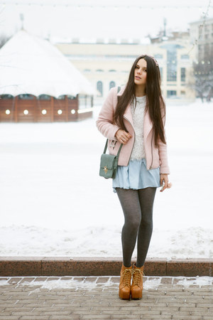 orange Jeffrey Campbell boots - light pink Stradivarius coat