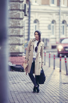 black fjallraven bag - beige Burberry coat - charcoal gray Topshop jeans