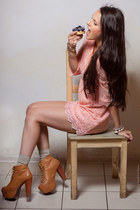burnt orange Jeffrey Campbell boots - light pink lace H&M dress