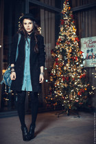 black Topshop boots - light blue shirt VJ-style dress - black Stradivarius coat