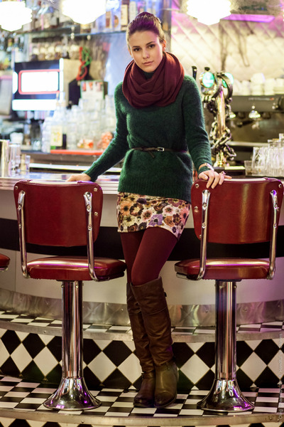 green mohair H&M sweater - crimson Oasis tights - white floral print Zara skirt