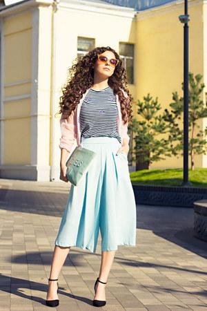 light pink brandy melville jacket - light blue culottes asos pants