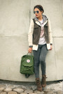 Army-green-zara-coat-heather-gray-topshop-jeans-green-kånken-fjäll-räven-bag