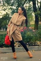 mustard Massimo Dutti coat - red Dolce & Gabbana bag