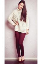 white Zara sweater - crimson Topshop jeans - crimson Stradivarius heels