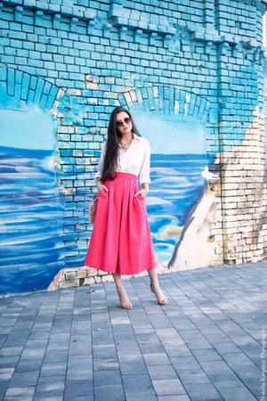 hot pink asos skirt - light pink Stradivarius bag