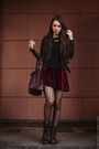 Black-ash-boots-beige-burberry-coat-crimson-zara-bag-maroon-topshop-skirt