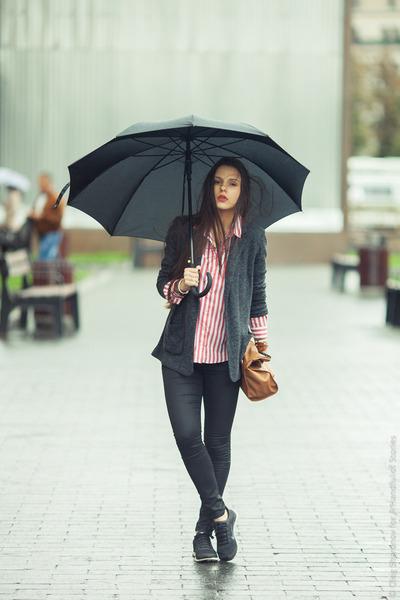black Topshop jeans - black Topshop blazer - ruby red Zara shirt