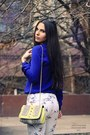 Yellow-h-m-bag-yellow-zara-heels-white-zara-pants-blue-zara-blouse