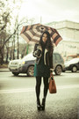 Black-vj-style-boots-green-zara-dress-brown-faux-shearling-topshop-jacket