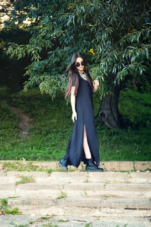 black Dr Martens boots - black maxi COS dress
