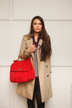 red Dolce & Gabbana bag - black Topshop boots - beige Burberry coat