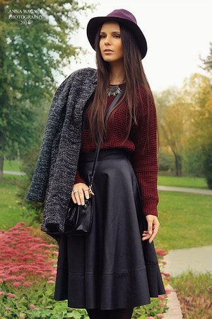 black leather midi Bershka skirt