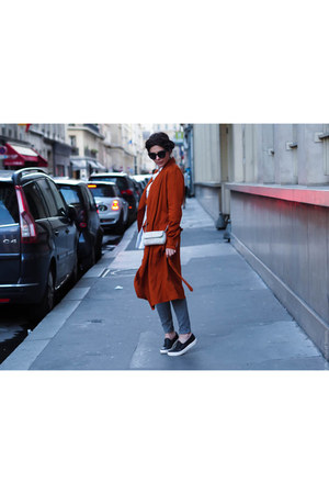brick red Zara coat