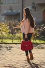 Light-pink-biker-wool-stradivarius-coat-ruby-red-cable-knit-zara-sweater