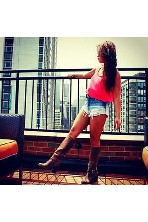 sky blue diy DIY shorts - boots Fergie boots