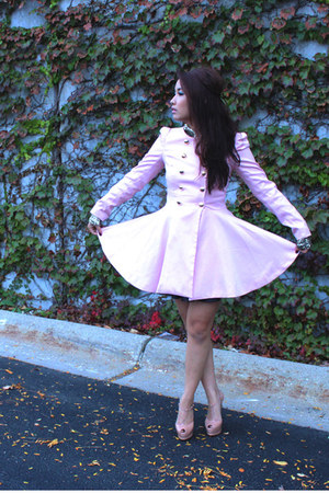 pink coat romwe coat - mia shoemint pumps