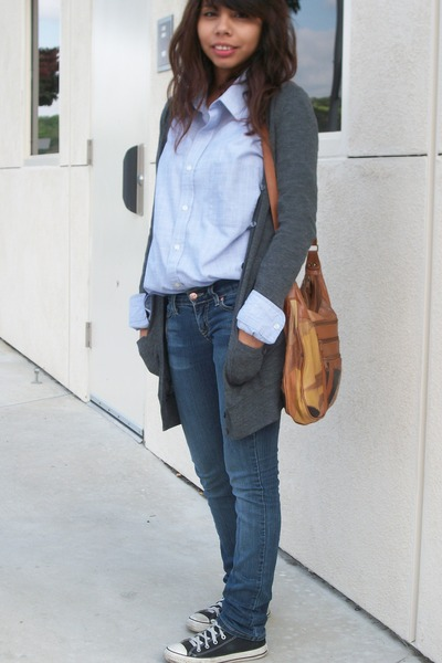 active and basic cardigan - Pierre Cardin shirt - no name  brand jeans - Convers