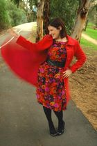 pink vintage coat - red vintage dress - black Ambra tights - black Joanne Mercer