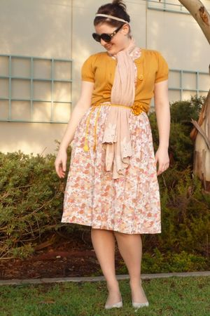 yellow wish cardigan - pink vintage from Ebay dress - pink Review scarf - yellow