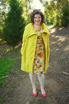 pink Miu Miu shoes - white Target tights - yellow BB Dakota coat - yellow Vera W