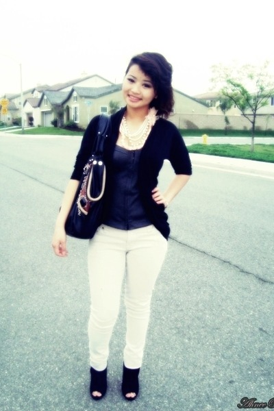 Marshalls bag - Forever 21 necklace - papaya blouse - papaya cardigan - China To