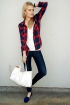 red h&m divided blouse - navy H&M jeans - white KappAhl top