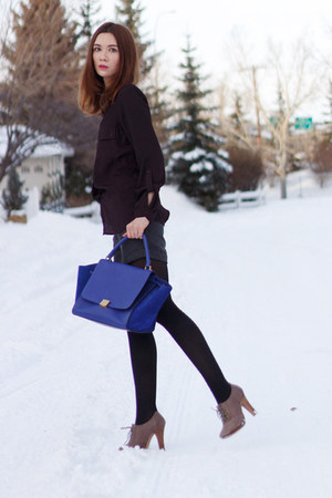 blue Celine bag - heather gray Aldo boots - magenta lady dutch blouse