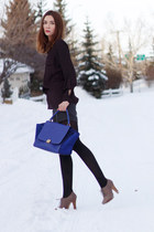 blue Celine bag - heather gray Aldo boots - magenta lady dutch blouse