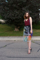 Clover Canyon skirt - botkier bag - Steve Madden sandals - Urban Outfitters top