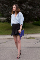 dark gray Zara skirt - blue botkier bag - black Aldo sandals