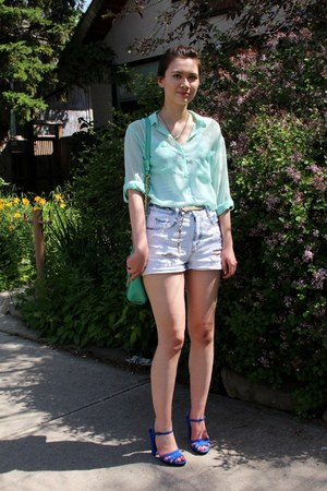 denim Zara shorts - botkier bag - Zara sandals