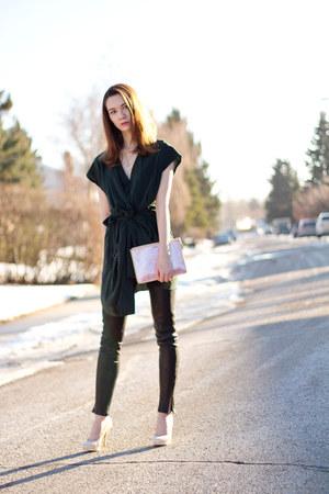 dark green silk All Saints dress - pink duochrome coach bag