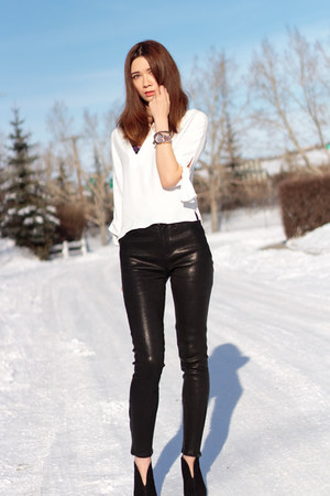 leather J Brand pants - Nine West boots - Zara top - Michael Kors watch