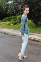 blue denim H&M shirt - light blue Zara jeans - aquamarine botkier bag