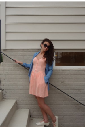 peach with pockets H&amp;M dress - ivory H&amp;M shoes - faux denim H&amp;M shirt