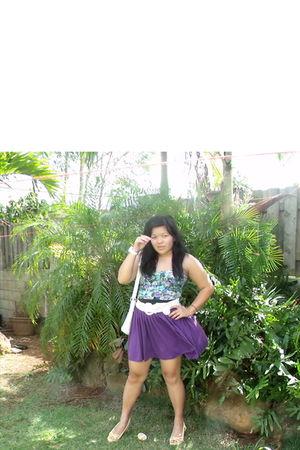 purple Macys skirt - blue Walmart blouse - white jeanswarehouse belt - white pay