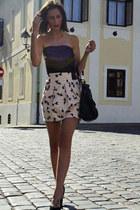 black bag - light pink H&M shorts - black vintage top - black Christian Loubouti