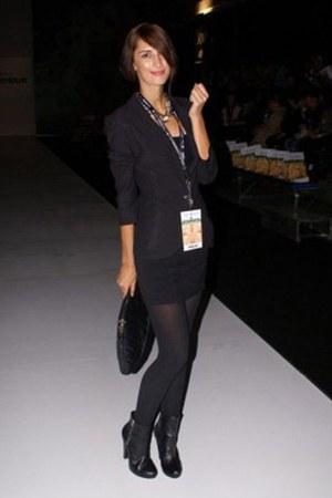 black H&M boots - black Zara blazer - black Tally Weijl bag - black H&M top