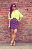 shirt - sunglasses - skirt - heels